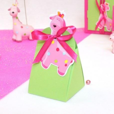 Ballotin à dragées girafe rose