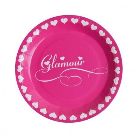 10 assiettes Glamour fuchsia