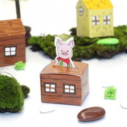 Boîte à dragées petit cochon bois