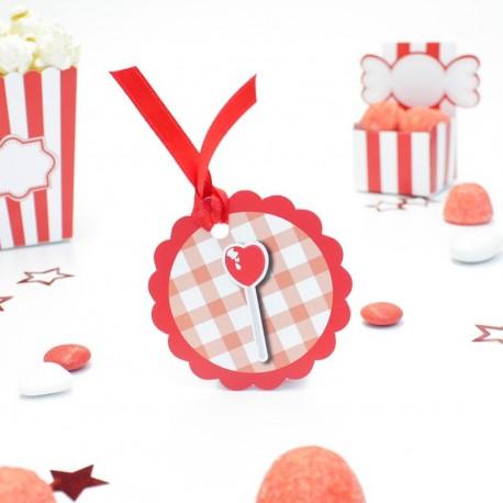 Etiquette sucette coeur candy bar pour contenant à dragées