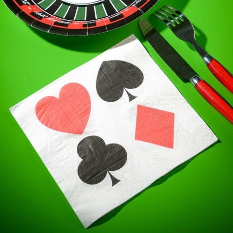 10 serviettes jetable thème poker