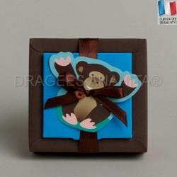 Boite à dragées bapteme thème singe rigolo