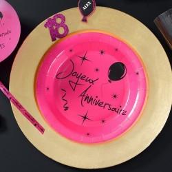 10 Assiettes jetables anniversaire fuchsia